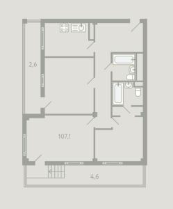 Планировка 3-комнатной квартиры в Загородный квартал